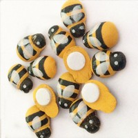 Yellow Mini Wooden Bee Self-adhesive Stickers Cute Baby Fridge Magnets for Scrapbooking XP0404