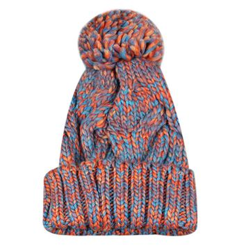 Fashion Women's Winter Warm Hats Female Knitted Hats Acrylic Mix Colors Skullies Caps Big Pompon Hats Bonnet Beanie Hat For Girl