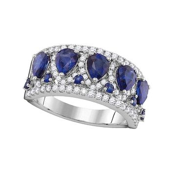 18kt White Gold Womens Pear Blue Sapphire Diamond Band Ring 1-2 Cttw