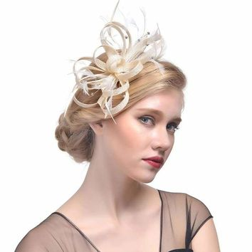 Feather Ribbon Cocktail Wedding Bride Fedora Hat