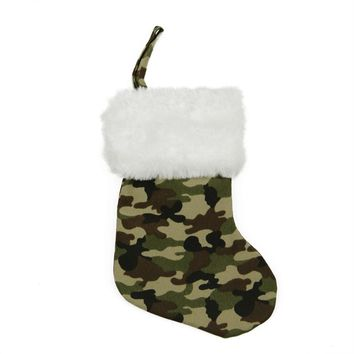 "8"" Army Camouflage Mini Christmas Stocking with White Faux Fur Cuff"