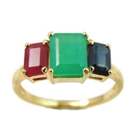 Emerald Sapphire Ruby 14k Gold Ring 2.77 ctw Gemstones