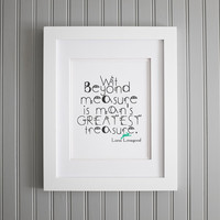Harry Potter Quote, Wit Beyond Measure, Luna Lovegood, Man's Greatest Treasure Motivation Art Print, Motivation Wall Poster