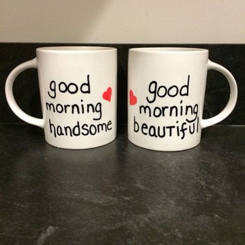 Mr and Mrs Good morning coffee or tea mugs - Set of Two