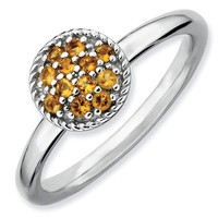 Citrine Cluster Stackable Ring