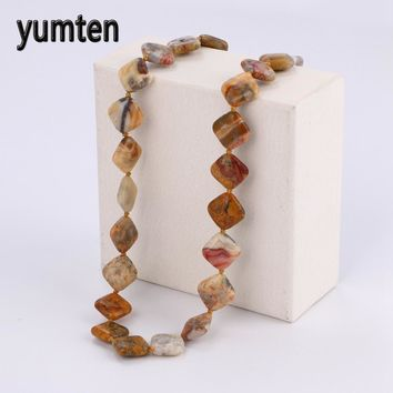 Yumten Colorful Jade Power Necklace Natural Stone Square Crystal Men Jewelry Colar Masculino Bohemian Reiki Chakra Healing Gift