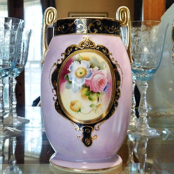 Antique Noritake Vase Morimura Bros Art Deco Nouveau 1900s Moriage Beaded Gold Trim Made in Japan Hand Painted Floral Flower Lilac Lavender