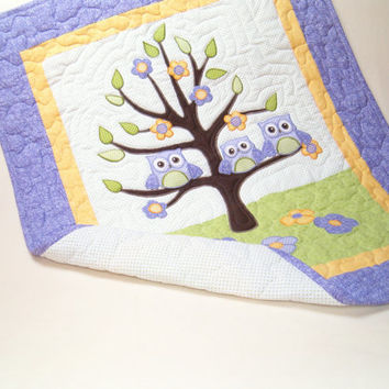 Owl Tree Nursery Quilt, Crib Bedding, Purple Green Yellow Baby Shower Gift