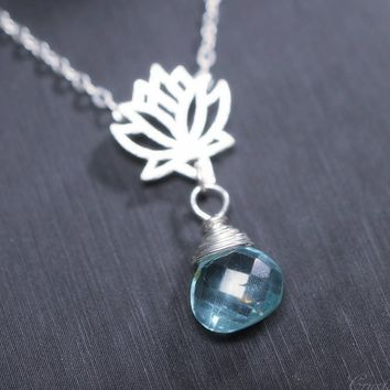 Tiny Apatite Necklace, Lotus Necklace, Sterling Silver Blue Teardrop Briolette Apatite Necklace, Briolette Apatite Pendant