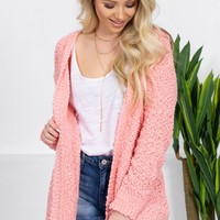 Sweet Sally Popcorn Cardigan | Neon Peach