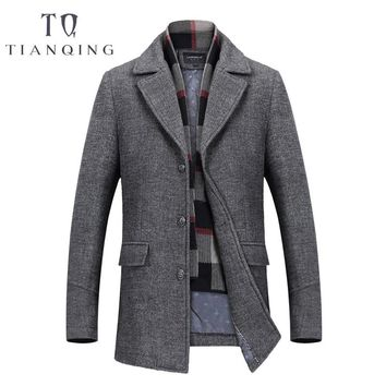 TIAN QIONG & Winter Single Breasted Woolen Coats 50% Off Men' s Wool Jackets Turn-down Collar Wool & Blends Overcoat