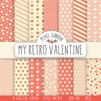 Retro Hearts Digital Paper Set. Vintage Valentine's Day Scrapbooking Paper Pack. Love and Romance Printable Paper. Stripes & Hearts Pattern.