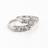 Vintage 14k White Gold Diamond Engagement Ring and Wedding Band Set -  1940s Size 6 Heart Motif Original Bridal Fine Jewelry Set