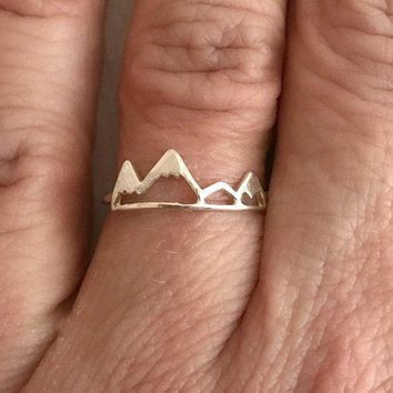 Mountain Ring, silver mountain ring, adjustable ring, nature jewelry, travel gift, hiking ring, climbing jewelry, gift for girlfriend