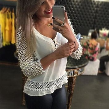PEAPUNT Sexy Lace Chiffon Blouse 2016 Fashion Summer Women V-neck Three Quarter Sleeve Hollow Out White Shirts Casual Tops Blusas