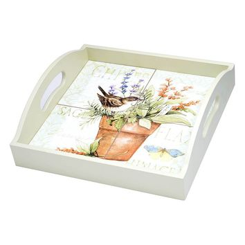 Certified International Herb Garden 4-Tile Square Wood Tray with Handles (Brown)