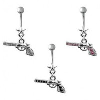 316L Surgical Steel - Clear Colored Gem - Pistol - Dangle Belly Rings - 14G, 7/16