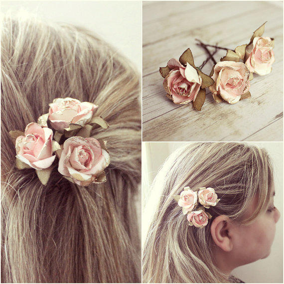Flower Hair Pins For Wedding: White And Pink Flower Hair Pins. Paper From Rosesandlemons On