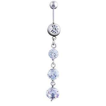 New Charming Dangle Crystal Navel Belly Ring Bling Barbell Button Ring Piercing Body Jewelry = 4804893252