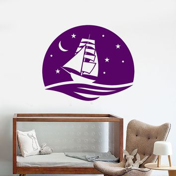 Vinyl Wall Decal Sea Ship Night Marine Nautical Sailor Sail Stickers (2607ig)