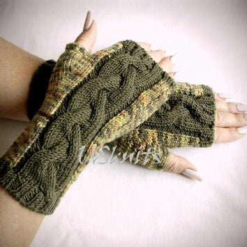 Fingerless gloves arm warmers with cable