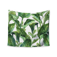 "Kess Original ""Banana Leaves"" Green White Wall Tapestry"