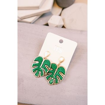 Palm Leaf Threaded Earring, Green/Gold