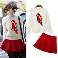 Cream Parrot Print Sweater With Red Mini Skirt