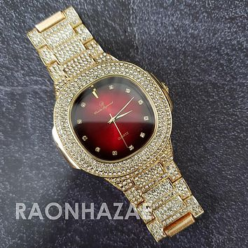 Raonhazae Hip Hop Iced Lab Diamond 14K Drake Drizzy Red Face Gold Plated Black Face Watch with Stone