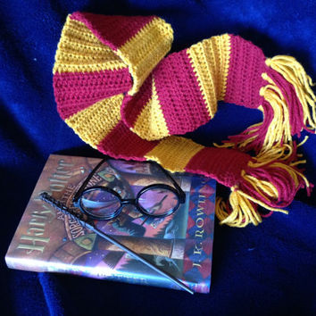 My Harry Potter inspired 3 piece set  scarf, Glasses, & Wand for Baby photo shoot