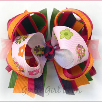 Boutique hair bow, Boutique stacked hair bows, Gymboree bow, M2MG HEDGEHOG bow, Big hair bows, Hair bows for girls, Toddler hairbow