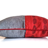 Denim outdoor pillow, Bohemian Pillow, 16X16 Pillow, Toss Pillow, Funky Cushion, Retro Pillow,  Red Pillow, Couch Pillow, Grey Pillow