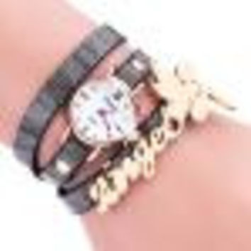 Bracelet Watch Gold Women Relogio Feminino Dancers Pattern Rhinestone Crystal PU Leather Strap Dress Clock CF