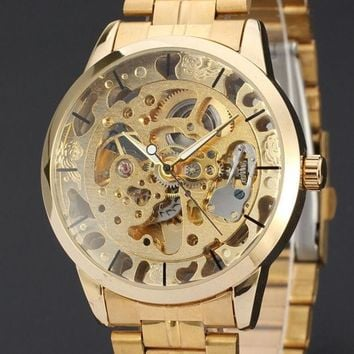 2015 New Brand Stainless Steel Band Automatic Mechanical Self Wind Watch Men Gold Skeleton Dress Watch Full Steel Watch ( Gold  Siliver )