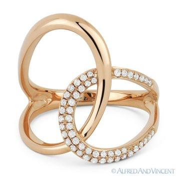 0.25 ct Round Cut Diamond Right-Hand Overlap Loop Fashion Ring in 14k Rose Gold