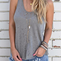 Women's Trendy Gray Scoop Neck T-Shirt Blouse with Cutout Holes
