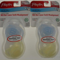 Playtex OrthoPro Silicone Pacifiers 0-6m Blue Set 2 Infant Baby Orthodontic Case