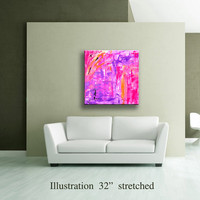 "36"" Pink Lavender Purple Orange Yellow Black Original Abstract Acrylic Painting on Canvas Wall Art Home Decor Wall Hanging UNSTRETCHED AU18"