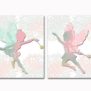 Nursery art for baby girl fairy wall decor kids room artwork dahlia decoration children poster playroom print toddler gift pink turquoise