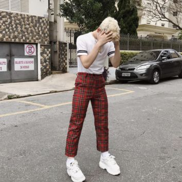 Red Plaid High Waisted Trousers