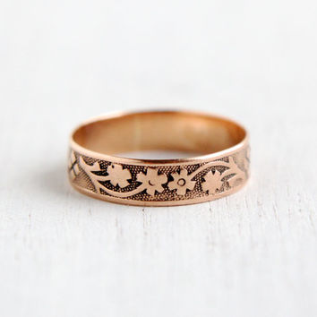 Antique Victorian 9k Rose Gold Flower Ring - Size 6 1/2 Vintage Late 1800s Floral Engraved Wedding Band