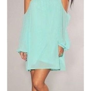 Mint Green Chiffon Off the Shoulder Shift Peasant Dress Long Sleeve Loose Flowy