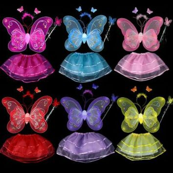 Butterfly wing +Wand +Headband +Tutu Skirt Sets Hot Butterfly Wing Wand Headband Tutu Skirt Cosplay Costume For Fairy Girl Kid