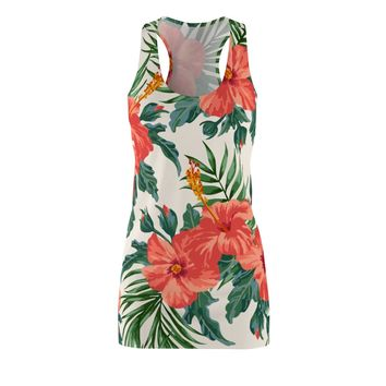 Tropical Hibiscus -  Women's Cut & Sew Racerback Dress
