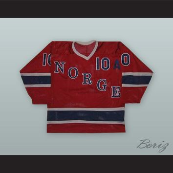 1980 Morten Sethereng 10 Norway National Team Red Hockey Jersey
