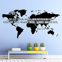 Wall Decals Quotes Bible Verse Psalm Proverbs 3:6 In All Your Ways Lord God Quote Vinyl Sticker Living Room Bedroom Decal Home Decor DA3580