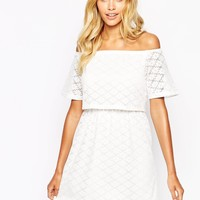 Fashion Union Off Shoulder Crop Dress In Floral Lace
