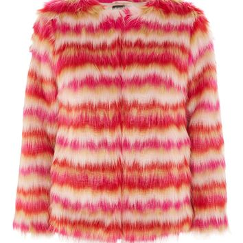 Rocket Man Stripe Faux Fur Coat - New In Fashion - New In