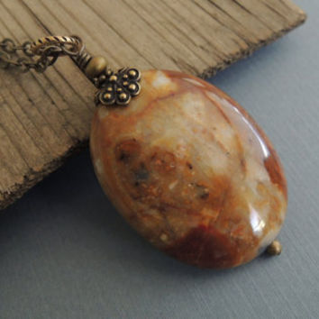 Golden Stone Pendant Natural Petrified Agate Long Boho Necklace Oval Pendant Gold Ivory Russet Gemstone  Rustic Earthy Woodland Necklace