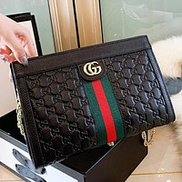 GUCCI New fashion stripe more letter leather shoulder bag crossbody bag Black